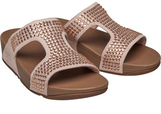 FitFlop Womens Glitzie Slide Sandals Nude