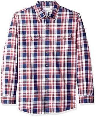 Amazon Essentials Men's Regular-Fit Long-Sleeve Two-Pocket Twill Shirt,Large