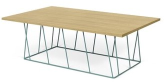 Brayden Studio Sligh Coffee Table Base Color: Sea Green Lacquered Steel, Top Color: Wild Oak