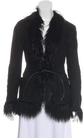 Gucci Suede Goat-Fur Trimmed Jacket