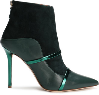 Malone Souliers Madison Leather-paneled Metallic-trimmed Color-block Suede Ankle Boots