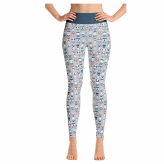 COAO Women's Athletic Pants Yoga Tiled Cartoon Dog Pattern Leggings Stretch Running Workout Tights High Waist Sport Tights Tummy Control Butt Lift Push Up for Ladies Gray