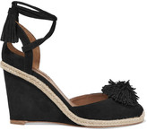 Aquazzura Sunshine Pompom-embellished Suede Wedge Espadrilles - Black