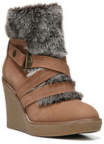 Fergie Omega Faux Fur-Trimmed Wedge Booties