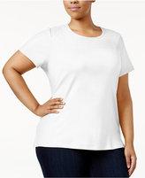 Karen Scott Plus Size Lace-Yoke Cotton T-Shirt, Only at Macy's