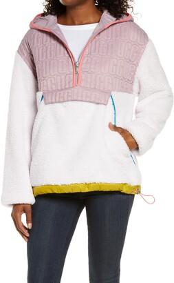 UGG Iggy Faux Fur Hooded Half-Zip Pullover