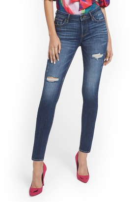 New York & Co. Lexi Mid-Rise Destroyed Super-Skinny Jeans - Cowboy Blue