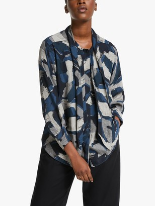 KIN Painterly Brush Print Shirt, Navy/Multi