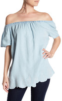 Chelsea & Theodore Chambray Off-the-Shoulder Blouse