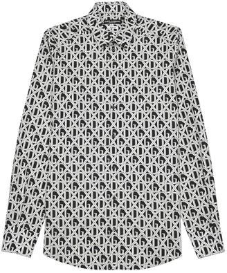 Dolce & Gabbana Monochrome logo-print cotton shirt