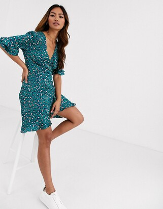 Brave Soul zona satin effect wrap dress in leopard print
