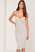 Missguided Faux Suede Midi Dress Grey