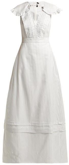 Calvin Klein Ruffled Striped Silk-blend Gown - Light Blue