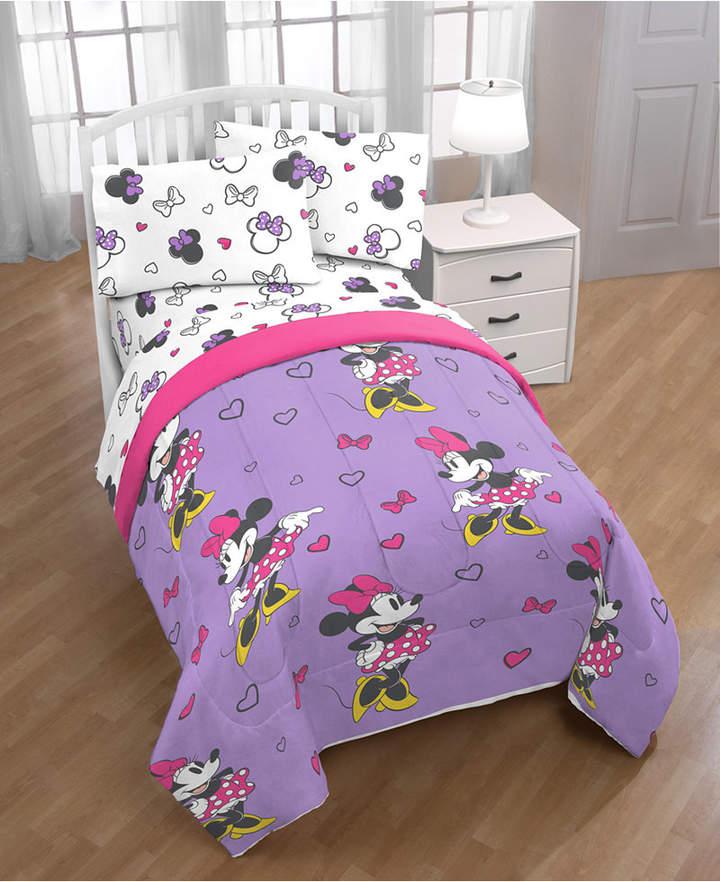 Disney Minnie Mouse Purple Love Full Comforter Bedding