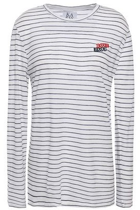 Zoe Karssen Love Love Appliqued Striped Cotton-jersey T-shirt