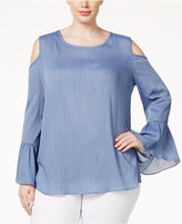 ING Trendy Plus Size Cold-Shoulder Chambray Top