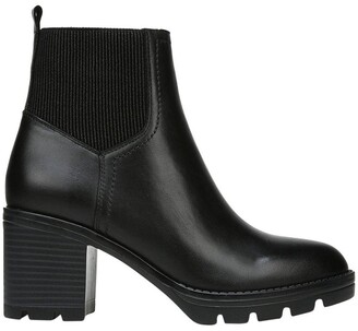 Naturalizer Verney Black Leather Platform Heeled Boot