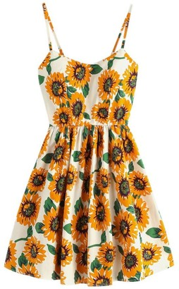 Toamen Women's Dress Toamen Summer Boho Sunflower Printing Sleeveless Dress