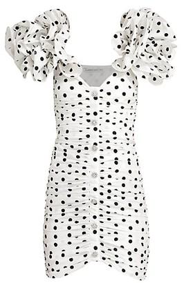 Alessandra Rich Polka Dot Taffetta Mini Dress
