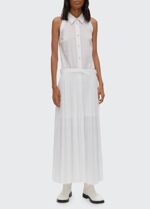 Helmut Lang Sleeveless Pleated Cotton-Blend Shirtdress