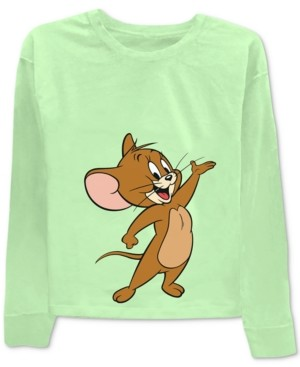 Warner Brothers Juniors' Tom & Jerry Front & Back Graphic Print T-Shirt