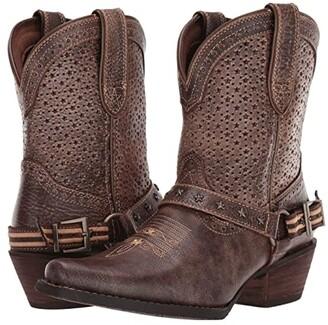Durango 8 Crush Perfed Flag Harness Bootie (Bronze Brown) Women's Boots
