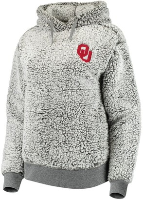 Women's Heathered Gray Oklahoma Sooners Sherpa Inside & Out Pullover Hoodie