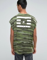 Asos Super Oversized T-Shirt In Camo With Back Print