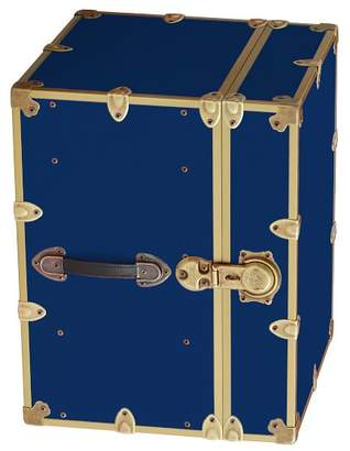 Pottery Barn Teen Canvas Dorm Trunk with Rubbed Brass Trim, Bedside, Mariner Blue
