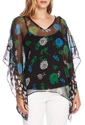 Vince Camuto Floral Lagoon Poncho Blouse