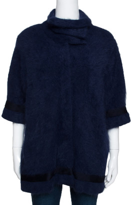 Roberto Cavalli Navy Blue Mohair Short Sleeve Jacket M