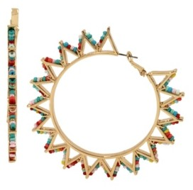 Jessica Simpson Beaded Geometric Gold-Tone Hoop Earrings