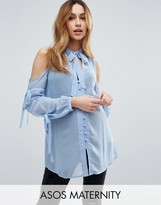 Asos Pussy Bow Blouse with Cold Shoulder and Tie Sleeve