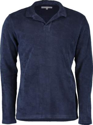 Orlebar Brown Terry Towelling Navy Resort Long Sleeve Polo