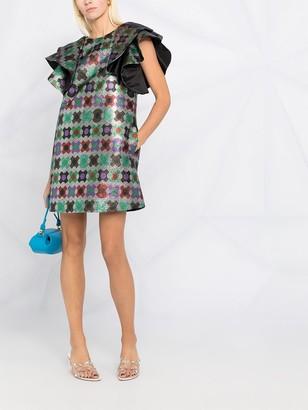 La DoubleJ Flame ruffled mini dress