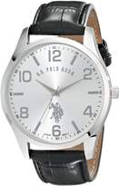 U.S. Polo Assn. Classic Men's USC50224 -Tone Watch with Black Faux Leather Band