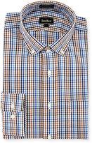 Neiman Marcus Classic-Fit Non-Iron Plaid Dress Shirt, Blue/Brown