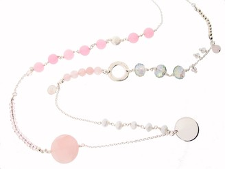 Earth Sterling 80cm Long Mixed Necklace with Rose Quartz Beads