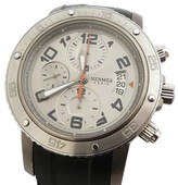 Hermes Clipper Chronograph Stainless Steel & Rubber Mens Watch