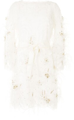 Marchesa Feather Embellished Lace Dress
