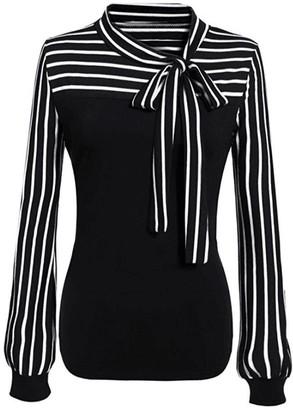 DEELIN Womens Ladies OL Tie-Bow Neck Striped Sexy Slim Long Sleeve Patchwork Splicing Elegant Shirt T-Shirt Blouse Tops Black