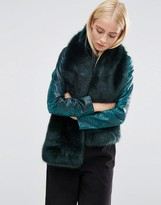 Asos Faux Fur Long Jewel Green Scarf