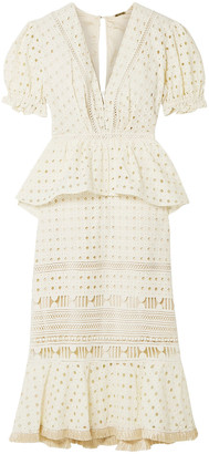 Johanna Ortiz Lovers Bridge Broderie Anglaise Cotton Peplum Dress