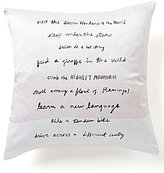 Kate Spade Adventure Fund Written Word Silk & Cotton Square Feather Pillow