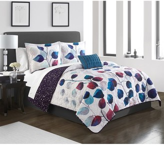 Semnai Watercolor Floral Print With Geometric Pattern On The Reverse Twin Quilt Set - Multi Color - 3-Piece Set