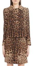 Dolce & Gabbana Leopard Print Logo Button Wool Jacket