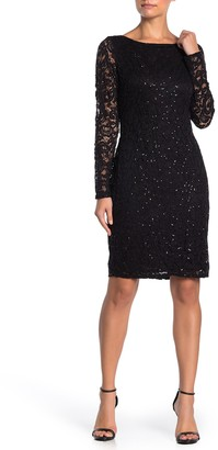 Marina Sequin Lace Long Sleeve Sheath Dress