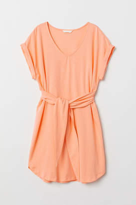 H&M Jersey Dress with Tie Belt - Orange