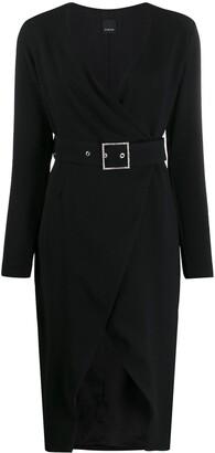 Pinko v-neck wrap midi dress