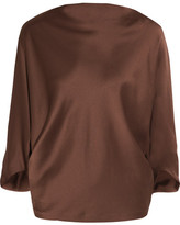Chalayan Draped Satin Blouse - Chocolate